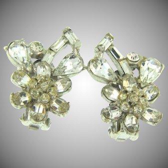 Vintage crystal rhinestone clip back Earrings