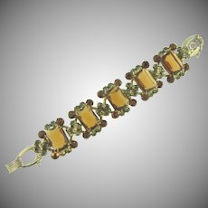 Vintage Juliana (D&E) 5 link Bracelet with topaz and smokey rhinestones