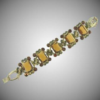 Vintage Juliana (D&E) 5 link Bracelet with topaz and smokey rhinestones