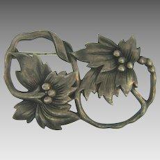 Marked sterling unusual vintage floral Brooch