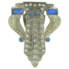 Art Deco Dress Clip with crystal and blue rhinestones
