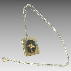 Vintage necklace with book shaped locket
