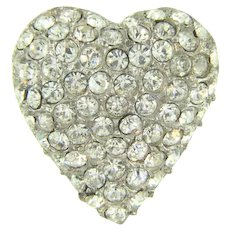 Small vintage heart shaped Scatter Pin with crystal rhinestones