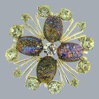 Signed Charel large Brooch with citrine and crystal rhinestones and faux dragon's breath cabochons