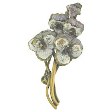 Early small Scatter Pin of pansies with enamel and purple paste stones