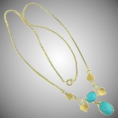 Signed Van Dell 1/20 12 kt gold filled vintage choker Necklace with turquoise colored cabochons