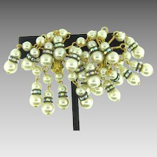 Vintage bold clip back Earrings with row of imitation pearls and AB rhondelles
