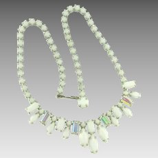 Signed Weiss choker Necklace with white glass and iridescent stones