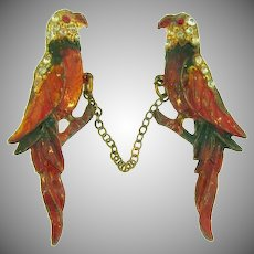 Vintage early figural chatelaine of a pair of parrots