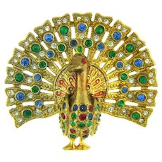 Vintage figural peacock Brooch with rhinestones