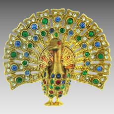 Vintage figural peacock Brooch with rhinestones