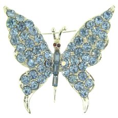 Signed Pell vintage figural silver tone butterfly Brooch with blue rhinestones