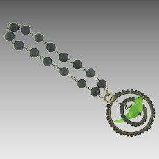 Unusual beaded chain link Bracelet with single double ring charm with glass bird