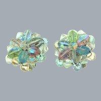 Vintage crystal bead clip back Earrings in pastel shades