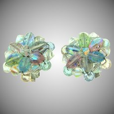 Vintage crystal bead clip back Earrings in pastel shades