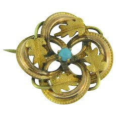 Early small Lover's Knot Scatter Pin with gold filled leaves and tiny turquoise glass bead