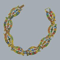 Vintage gold washed Bracelet with multicolored rhinestones