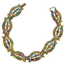 Vintage gold washed Bracelet with multicolored rhinestones