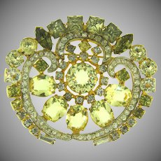 Vintage gorgeous rhinestone Brooch in citrine,crystal, olive and smoky colors