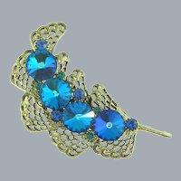 Unusual 1960's feather designed Brooch with rivoli blue rhinestones