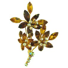 Beautiful vintage floral spray rhinestone Brooch in fall shades