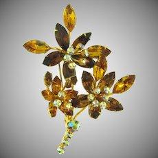 Beautiful vintage floral spray rhinestone Brooch in fall shades