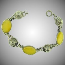 Vintage Arts and Crafts style link Bracelet with custard yellow cabochons