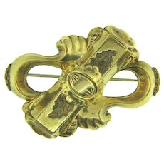 Early gold filled abstract Brooch with center bar