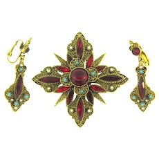 Signed ART Renaissance style Brooch and drop clip back earrings