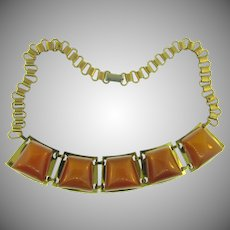 Vintage book chain choker Necklace with Bakelite tiles