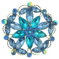 Vintage rhinestone floral Brooch in blue shades