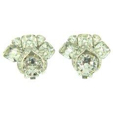 Signed Eisenberg clip back Earrings with crystal rhinestones