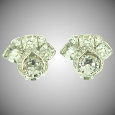 Signed Eisenberg clip back Earrings with crystal rhinestones