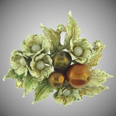 Signed Har distressed enamel Brooch with imitation pearls ,AB rhinestones and compostion beads