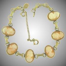 Signed Karen Lynne 12 kt GF cameo link Bracelet