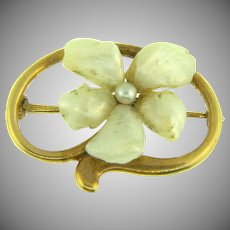 Small early gold filled Scatter Pin with center flower with MOP petals and center seed pearl