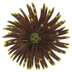 Unusual 1960's flower Brooch in brown enamel with yellow tips