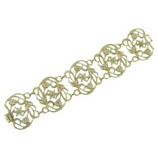 Signed Karu Arke wide link Bracelet with white enamel