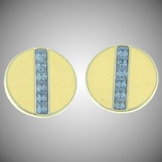 Signed S.A.L. button clip back Earrings with cream enamel and blue rhinestones