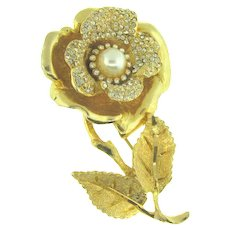 Signed Hobe figural flower Brooch with crystal rhinestones and imitation pearl