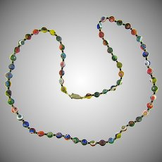 Vintage millifiori glass 30 inch 7 mm beads Necklace