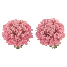 Vintage celluloid pink floral clip back Earrings