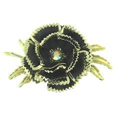 Vintage large 1960's flower Brooch with black and gold enamel