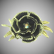 Vintage large 1960's flower Brooch with black and gold enamel