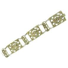 Unusual vintage link Bracelet of Greek wind god, Zephyrus