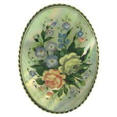 Beautiful MOP Brooch with hand painted floral design