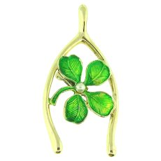 Signed Gerrys large figural lucky wishbone Brooch with green enamel 4 leaf clover