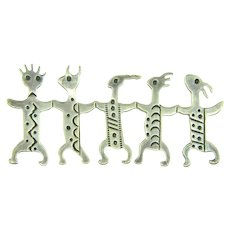 Vintage unusual silver abstract figural brooch of five critters in a row