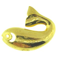 Signed Trifari TM figural whale Brooch with chased designs