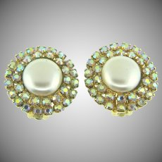 Signed Coro button clip back Earrings with AB rhinestones